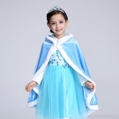 Áo choàng trẻ em Ice romance Cape Cloak Đầm công chúa váy choàng cộng với nhung dày Nhà máy giá sỉ
