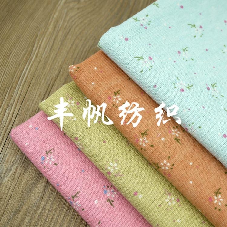 FENGFAN Vải Cotton pha Bông hoa màu xanh và vải lanh pha trộn vải thủ công tự làm retro Zakka vải nh