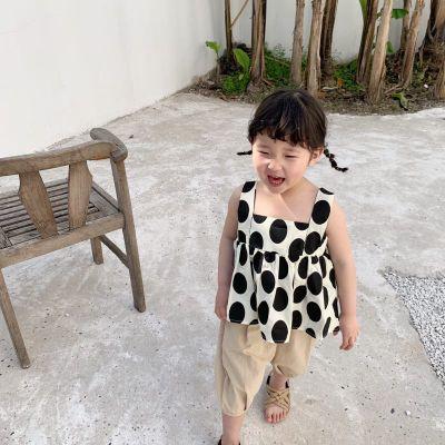 Áo ba lỗ  / Áo hai dây trẻ em Nhiệm vụMùa hè 2019 Cô gái Hàn Quốc mới chấm áo sơ mi búp bê Cô gái áo
