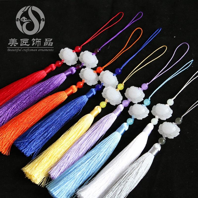 MEIJIANG sợi tua Sansheng Sanshi tua rua Yang Mi Bai Yu Yu Khánh Kunlun trắng ngọc sen mặt dây chuyề
