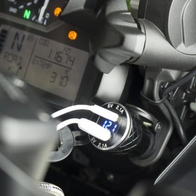 Đầu cắm sạc Áp dụng cho BMW Ducati tiêu chuẩn châu Âu xe máy usb xe sạc kim loại với điện áp hiển th