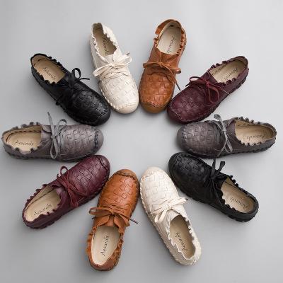 giày bệt nữ 2017 mùa thu mới, giày da nữ cổ tròn, giày đế bằng, giày đế thấp, thoáng khí