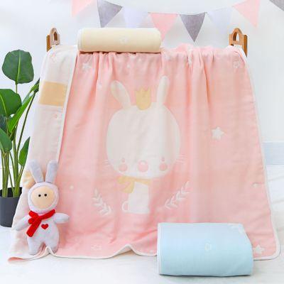 Khăn quấn Phim hoạt hình bông gạc sáu lớp trẻ em được phủ chăn, khăn tắm cho trẻ em vuông, em bé đượ