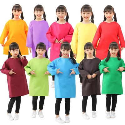 Áo khoác Trẻ em vẽ smock chống nhòe dài tay lớn trẻ em vẽ tranh mẫu giáo trẻ mẫu giáo tạp dề logo tù