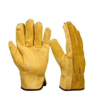 Găng tay bảo hộ Azhe da bảo hiểm lao động hai lớp đầy đủ găng tay da năm ngón tay chống trượt chống