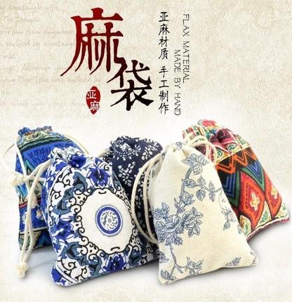 Xiangshuishu Túi đựng trang sức Đặc trưng dân tộc nhỏ màu xanh và trắng túi vải lanh cotton và lanh