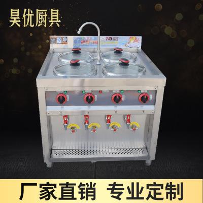 Thiết bị nhiệt điện Bếp bánh bao bằng thép không gỉ thương mại mới Đa chức năng bốn mắt điện nước nó