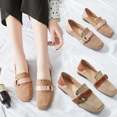 giày bệt nữ Mùa hè 2019 mới Giày da đế bằng Hàn Quốc đơn giày nữ gân bò đế giày đế mềm đế mềm đế già