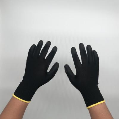 Găng tay bảo hộ Pu sơn cọ đen chống tĩnh điện nhúng cao su cọ cọ cao su cọ pu bọc nylon 13 kim polye
