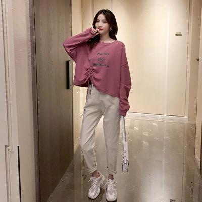 Đồ Suits Mùa thu 2019 phiên bản Hàn Quốc mới của áo len màu hồng dây rút + quần harem rộng hai mảnh