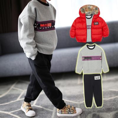 Áo thun gia đình Mùa thu đông 2019 mới in cộng với áo len nhung cha mẹ mặc trẻ em phiên bản Hàn Quốc