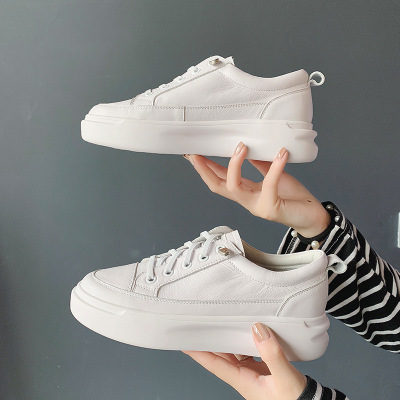 Giày trắng nữ Lớp đầu tiên của giày da trắng Giày nữ đế dày đế dày 2019 mùa thu mới phiên bản Hàn Qu