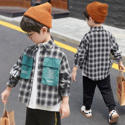 Áo Sơ-mi trẻ em Quần áo trẻ em mùa xuân và mùa thu mới 2019 áo sơ mi kẻ sọc nước ngoài trẻ em mùa th