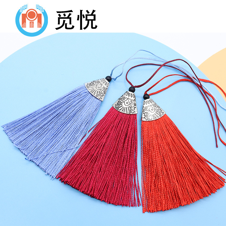 sợi tua Mới polyester cá miệng tua rua phẳng kim loại nắp túi nhỏ tua với mặt dây Trung Quốc nút tre