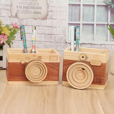 GULANG Đồ trang trí bằng gỗ Sáng tạo máy ảnh retro đôi bút giữ bàn quà tặng ban đầu bằng gỗ học văn