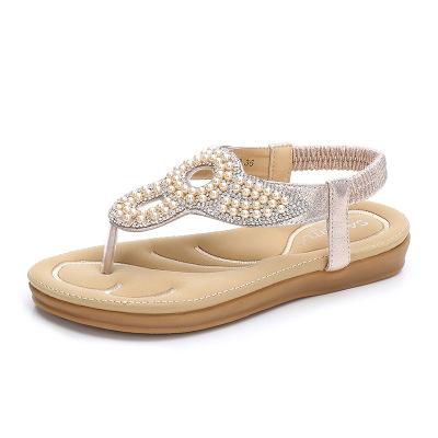 Thị trường giày nữ Dép nữ 2019 mùa hè mới rhinestone ngọc trai ngoại thương giày nữ hỗ trợ thế hệ nề