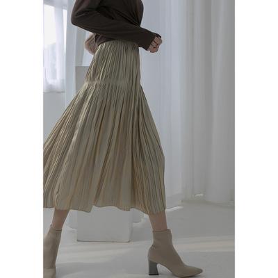 váy 2019 Phiên bản Hàn Quốc thu đông mới Hồng Kông đơn giản mang hương vị hoang dã giả Tiansi eo ca