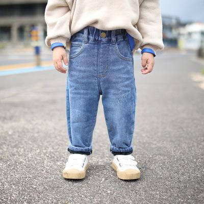 Quần trẻ em Trẻ em mặc 2019 mùa đông mới cho bé quần lớn quần jean rộng mềm trẻ em cộng với quần jea