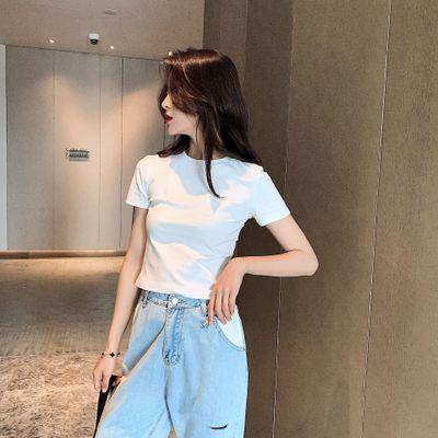áo thun Mười ba dòng áo thun nữ tay ngắn ấp ủ hè 2019 Sinh viên Hàn Quốc nhân ái diện áo rách cotton