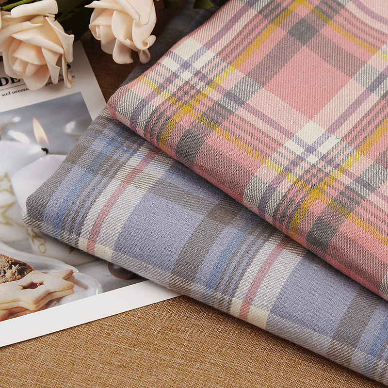 LELIAO NLSX vải Mùa thu và mùa đông dày màu dệt thời trang mới lưới đỏ nam và nữ áo sơ mi vải kẻ sọc