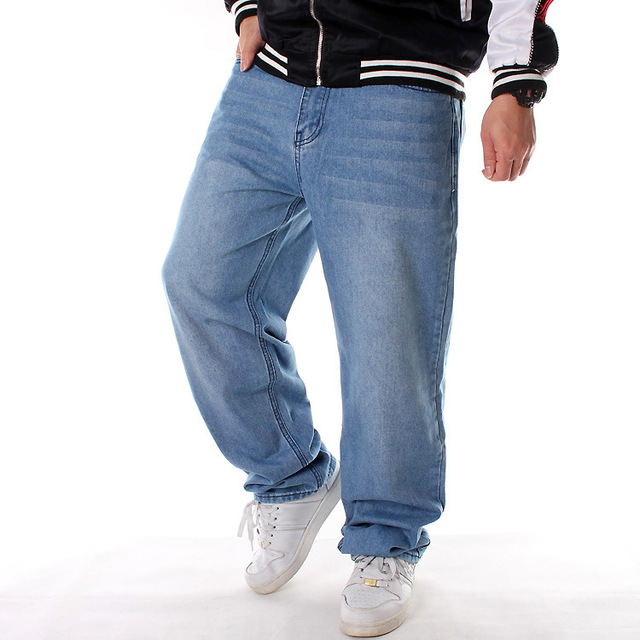 Quần Túi tóc giúp Châu Âu và Hoa Kỳ Quần jeans XL màu xanh nhạt nam lỏng lẻo xu hướng giản dị hip ho