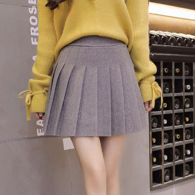 váy Lắc mạng váy xếp li màu đỏ thon dài eo cao váy nữ sinh viên phục vụ váy len Nhật Bản