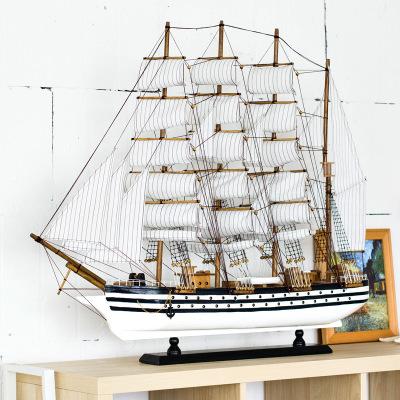 JIALI Đồ trang trí bằng gỗ Phong cách Địa Trung Hải bằng gỗ mô hình trang trí mô phỏng thuyền gỗ rắn