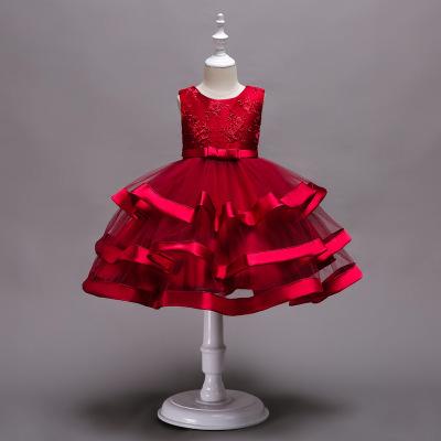 Trang phục dạ hôi trẻ em Lucy Babe Children Dress Organza Girls 'Dress Nhiều lớp gạc Tutu Buổi biểu