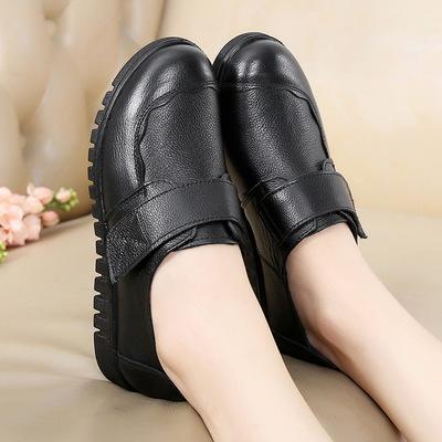 Giày da một lớp Bán chạy nhất giày da nữ mới đơn giản Giày đế bằng dành cho người trung niên