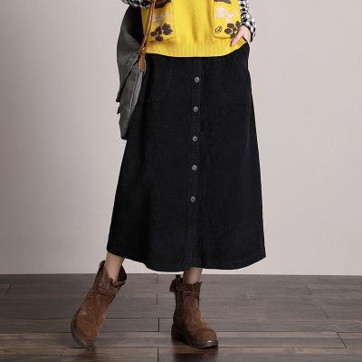 váy Váy nhung kẻ một chiều retro mùa thu và mùa đông của phụ nữ dài nhung kẻ một váy váy bán buôn 29