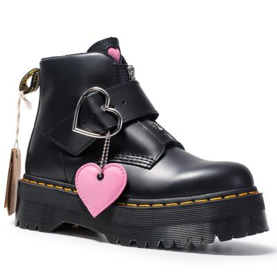 giày bánh mì / giày Platform Peach trái tim Martin ủng nữ khóa da da ngắn khởi động thời trang cô gá