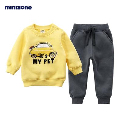 Đồ Suits trẻ em Quần áo trẻ em mùa thu đông 2018 nam nữ trẻ em cộng với áo len nhung cho trẻ em bộ đ