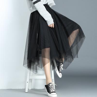 váy Bốn mùa nổ khí chất váy lưới bất đối xứng hem Một từ rắn màu váy xếp li váy hoang dã