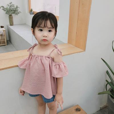 Áo ba lỗ  / Áo hai dây trẻ em Amu khỉ 2019 mùa hè dây đeo cô gái kẻ sọc lệch vai Hàn Quốc mới cho bé