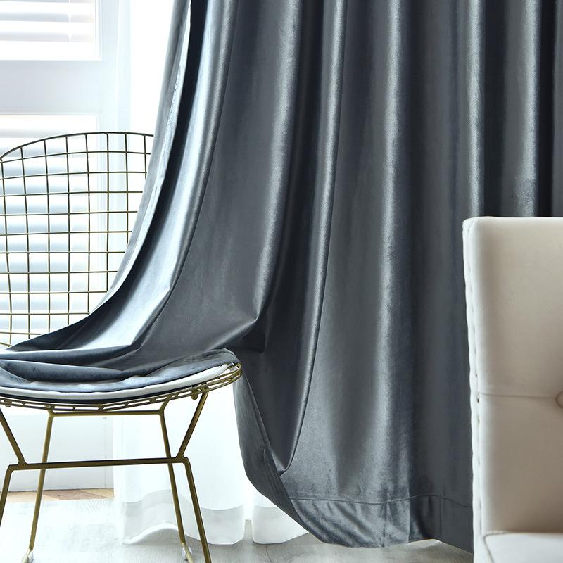 Vải rèm cửa Yu Qing Phường Rèm nhung Ý cao cấp phòng khách màu cao nửa bóng vải không gian phòng ngủ