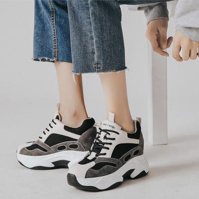Giày tăng chiều cao Giày gấu trúc tăng 8cm2019 mùa thu mới phiên bản Hàn Quốc của giày đế dày đế dày