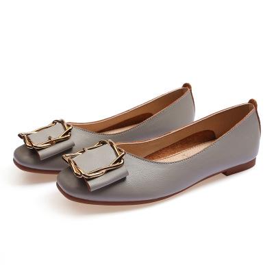 Giày GuangDong Giày đế bằng nữ2019 mùa thu mới khóa vuông bằng phẳng đậu Hà Lan Giày nữ ngoại thươn