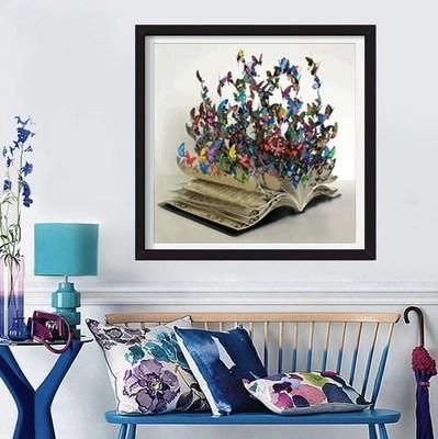 Tranh thêu chữ thập DIY New Diamond Tranh Full Diamond Butterfly Book Khoan Cross Stitch Trang trí t