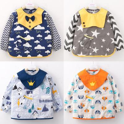 Áo khoác Mới bé smock cotton dài tay chống thấm nước chống trẻ em mặc tạp dề sơn quần áo mùa thu đôn