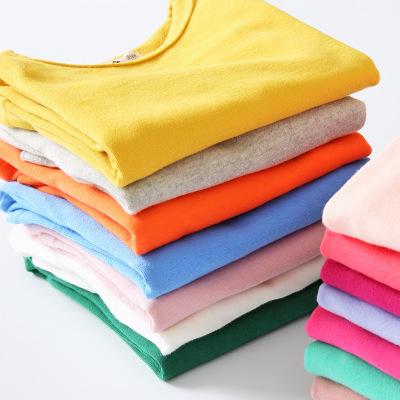 Áo thun trẻ em Mùa thu 2019 cô gái Hàn Quốc kẹo dài tay chạm đáy áo hoang dã 35 màu nền quần áo bé t