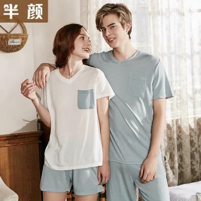 Trang phục trong tháng (sau sinh) Đồ ngủ cao cấp cotton và lanh tay ngắn cho nam và nữ Đồ ngủ mùa hè