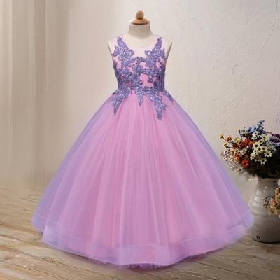 Trang phục dạ hôi trẻ em 2019 mới quần áo trẻ em châu Âu và Mỹ công chúa váy hoa cô gái in trẻ em vá