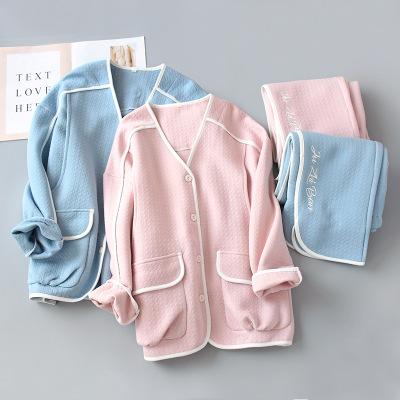 Trang phục trong tháng (sau sinh) Air cotton cho bà bầu đồ ngủ mùa thu và mùa đông cotton quần áo kí