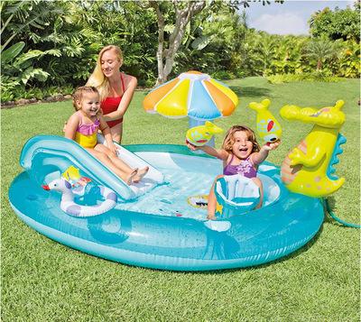 INTEX bể bơi trẻ sơ sinh Bản gốc xác thực INTEX cá sấu trượt đài phun nước bể bơi chơi bi-a bi bi bi