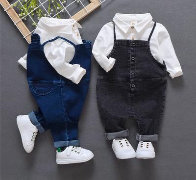 Trang phục Jean trẻ em Bộ đồ mùa thu cho bé 1 3 tuổi thủy triều cho bé quần áo mùa thu denim yếm hai