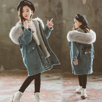 Trang phục Jean trẻ em Áo khoác denim bé gái mùa thu đông 2019 Quần áo trẻ em Hàn Quốc mới cho bé gá