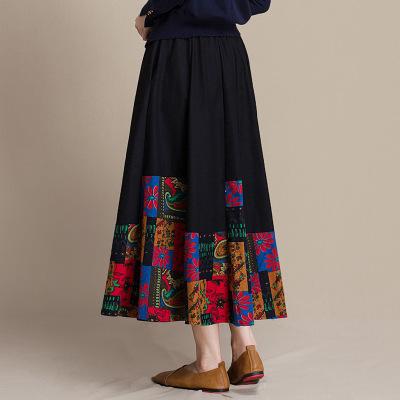 váy Váy cotton và vải lanh gió quốc gia trong phần dài của mùa thu nữ 2018 mới in cotton và váy lanh