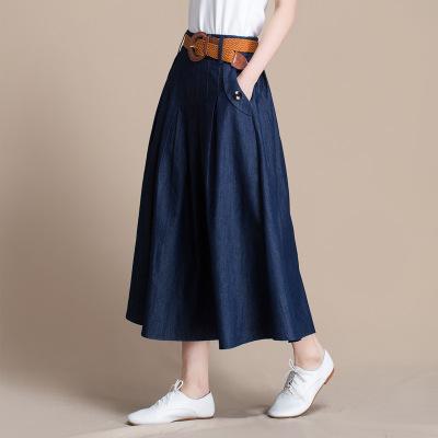 váy Bán buôn váy denim mùa xuân và mùa thu nữ retro giản dị kích thước lớn váy denim một từ váy 2232