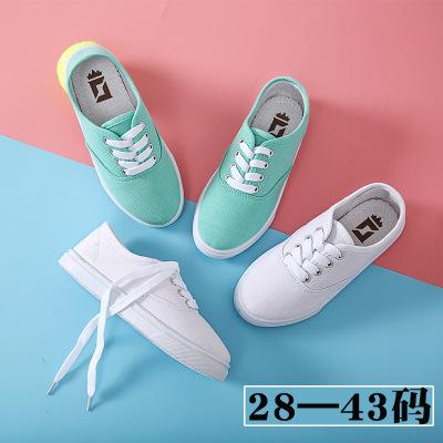 Giày trắng nữ Giày vải trẻ em cho bé trai và bé gái Giày trắng 2019 Giày trẻ em mùa xuân Giày thể th