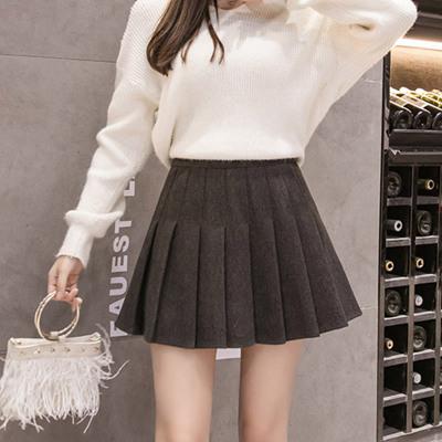 váy Váy ngắn xếp li 2019 phiên bản mới của Hàn Quốc váy ngắn mùa thu ngắn mùa thu và mùa đông eo ca